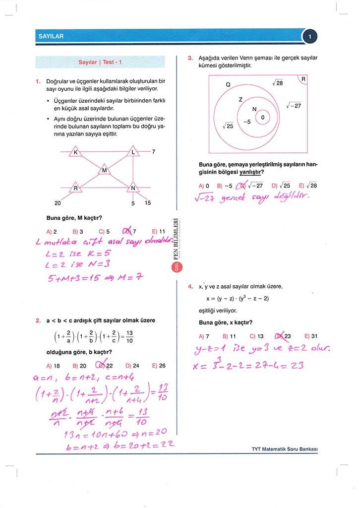 TYT-AYT Matematik Konu Anlatımlı Çözümleri - 0001