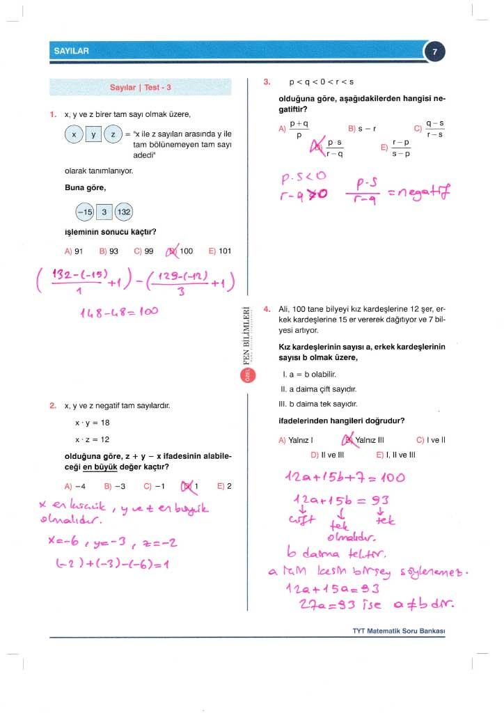 TYT-AYT Matematik Konu Anlatımlı Çözümleri - 0007