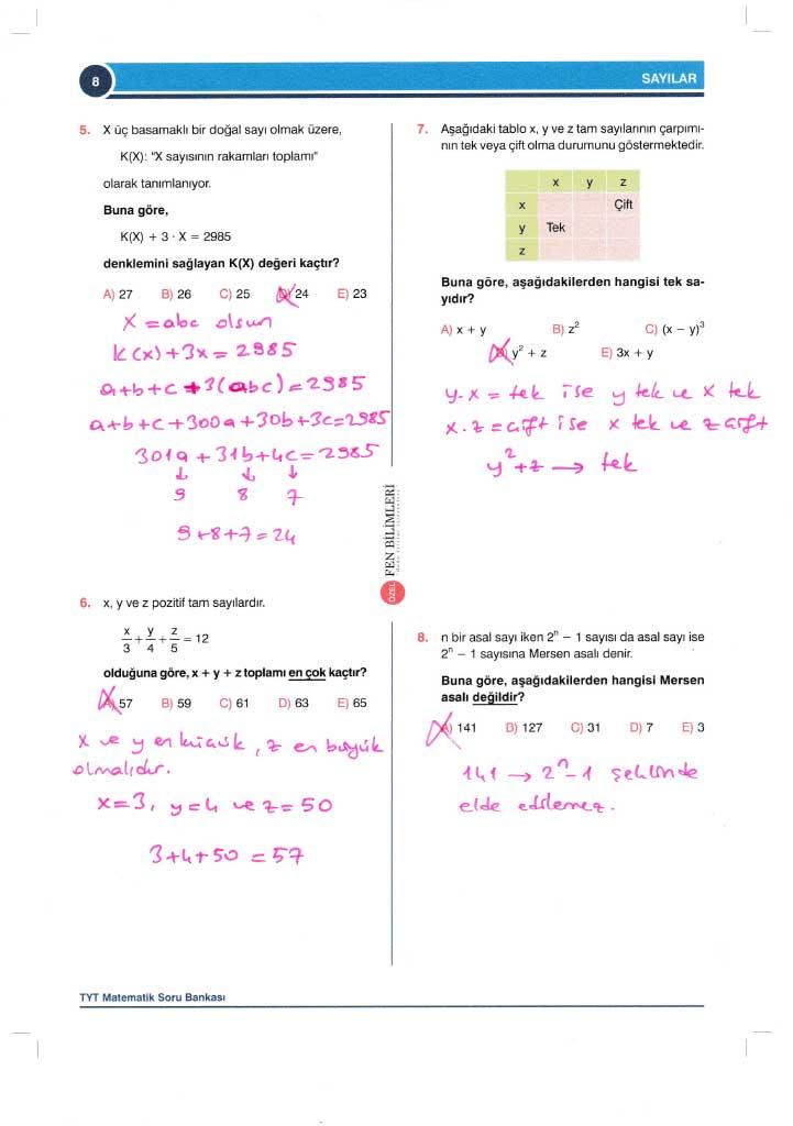 TYT-AYT Matematik Konu Anlatımlı Çözümleri - 0008