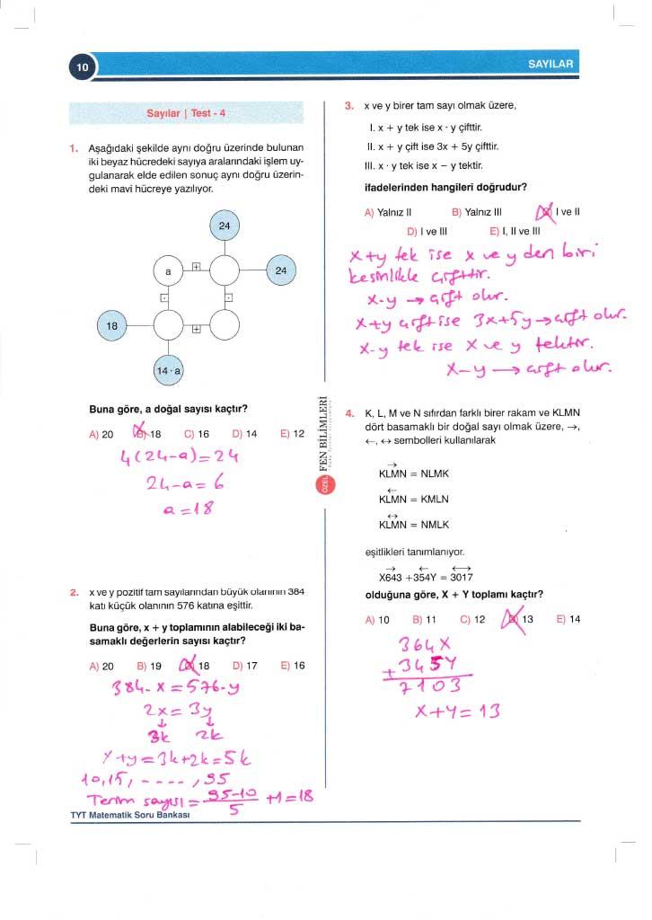 TYT-AYT Matematik Konu Anlatımlı Çözümleri - 0010