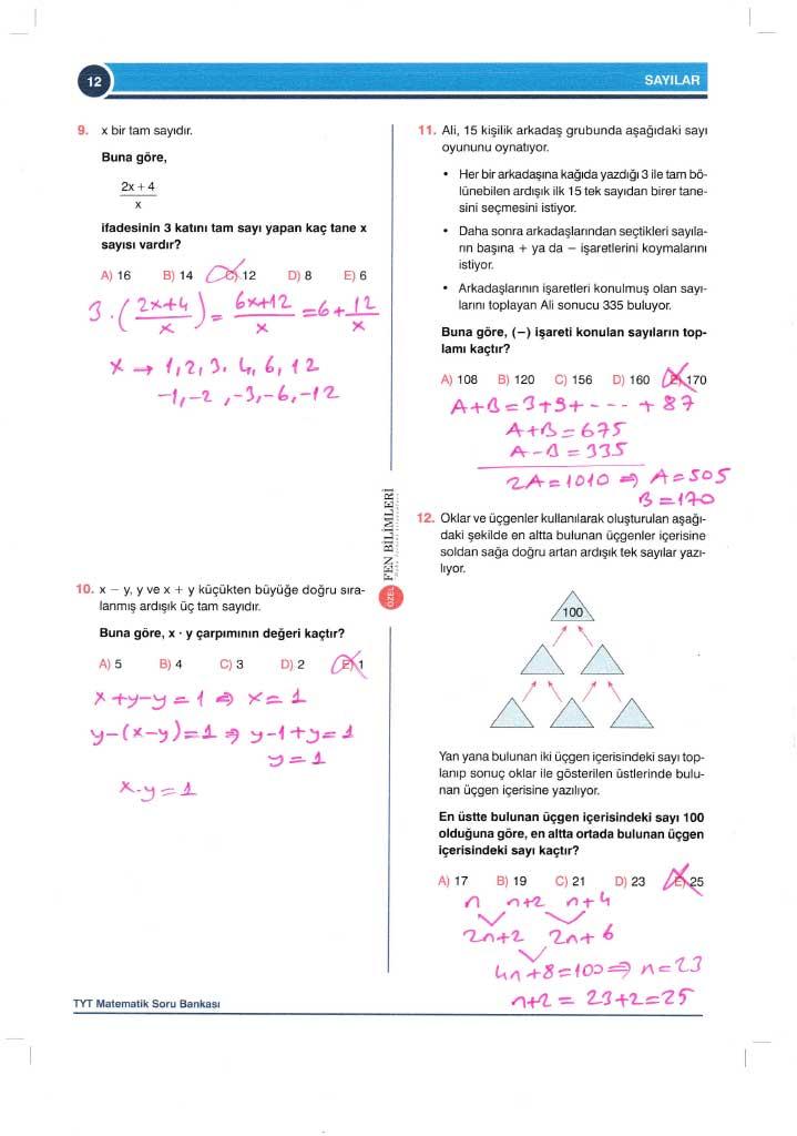 TYT-AYT Matematik Konu Anlatımlı Çözümleri - 0012