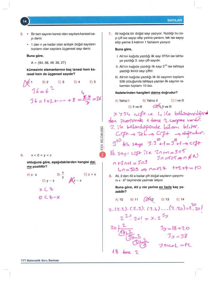TYT-AYT Matematik Konu Anlatımlı Çözümleri - 0014