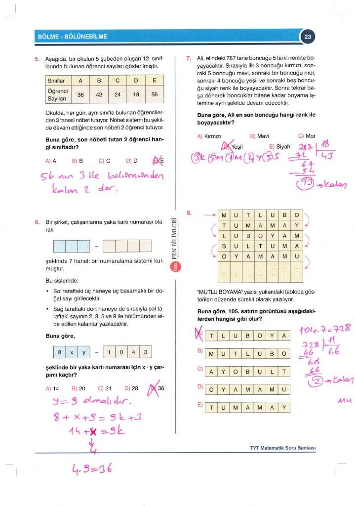 TYT-AYT Matematik Konu Anlatımlı Çözümleri - 0023