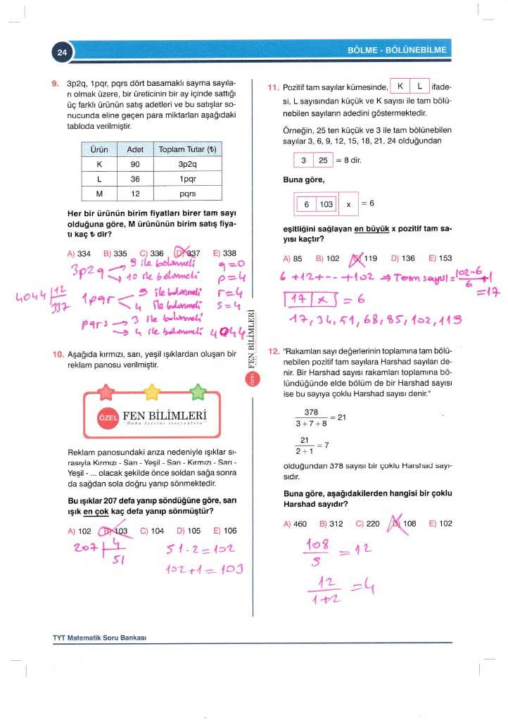 TYT-AYT Matematik Konu Anlatımlı Çözümleri - 0024