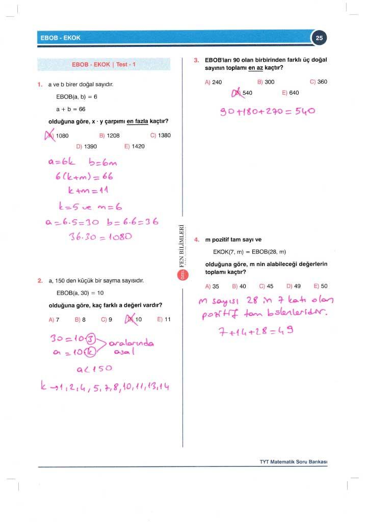 TYT-AYT Matematik Konu Anlatımlı Çözümleri - 0025